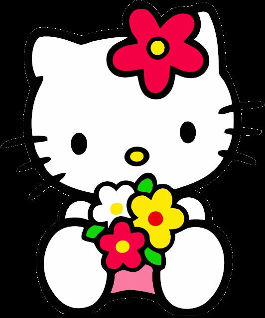 Desenho Hello Kitty com flores colorido