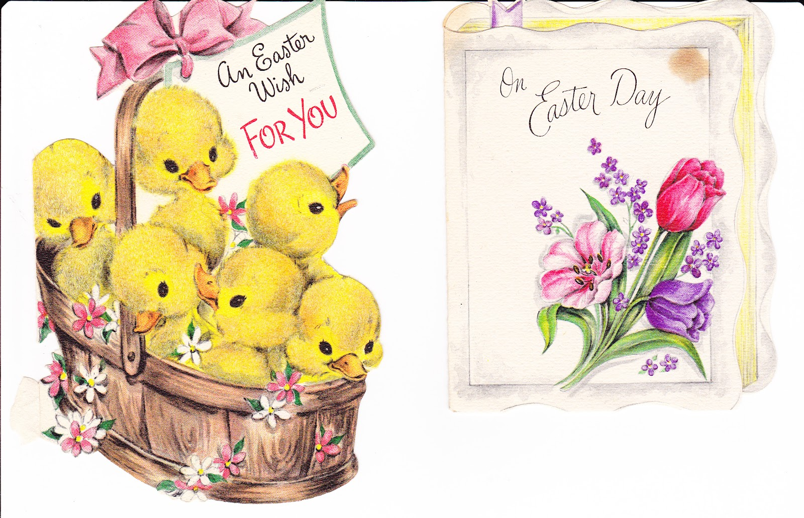 Two cute cards a basket of chicks and a card shaped like a bible