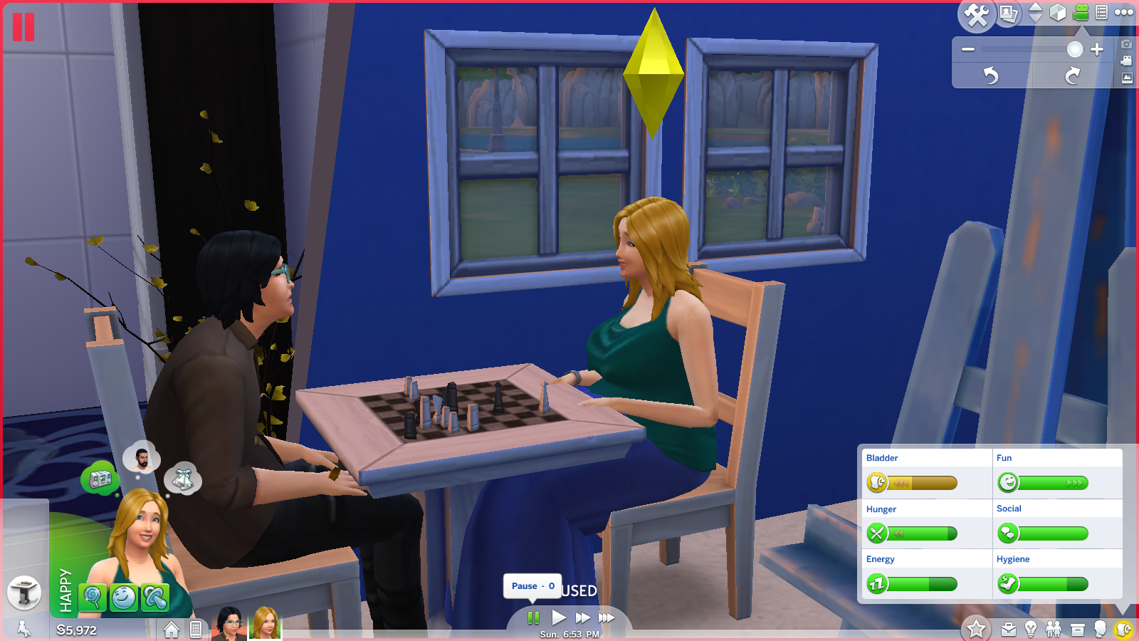 The Sims 4 couple playing chess and chatting multi tasking