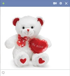 teddy with be mine heart Emoticon Facebook Terbaru