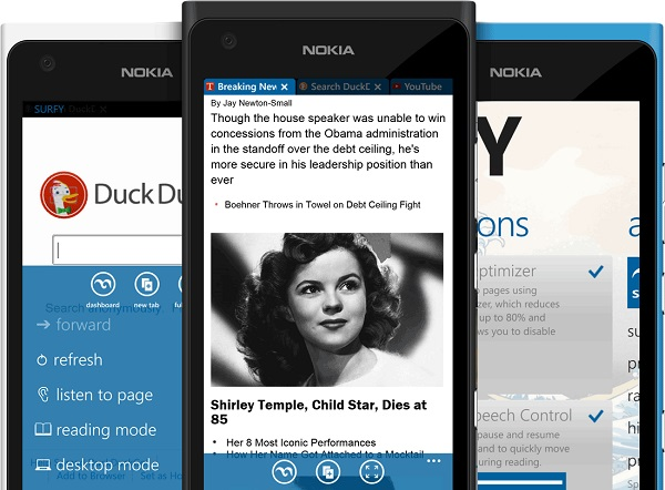 Surfy browser goes free on Windows Phone
