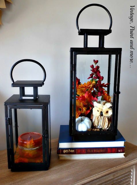 Vintage, Paint and more... thrift store lanterns transformed with black chalk paint and fall foliage