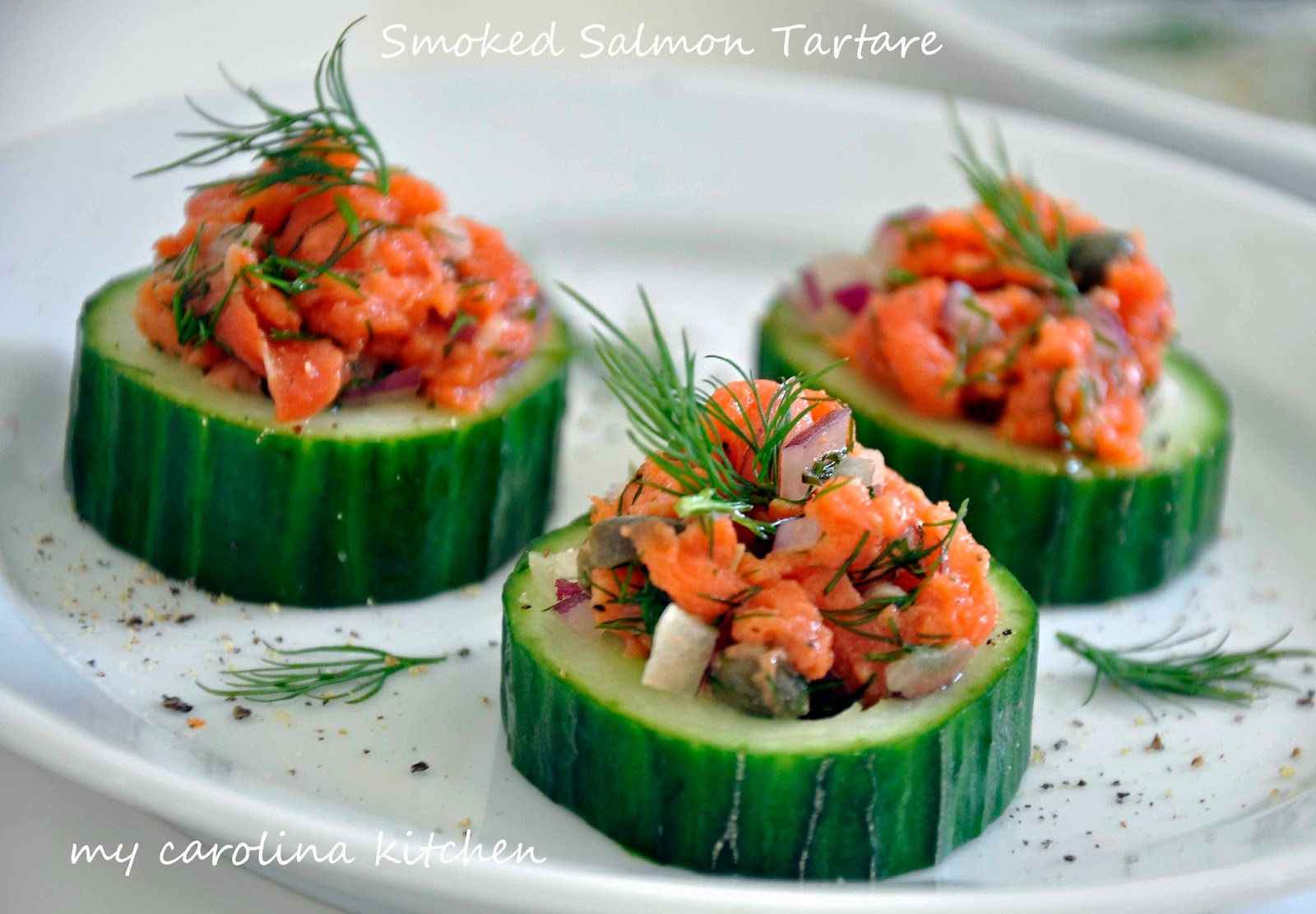 Delightful Entree Ideas For Dinner Party Part - 10: Smoked Salmon Tartare On Cucumber Rounds Featured On IVillageu0027s 10 Easy U0026  Elegant Dinner-Party Recipes For Non-Cooks