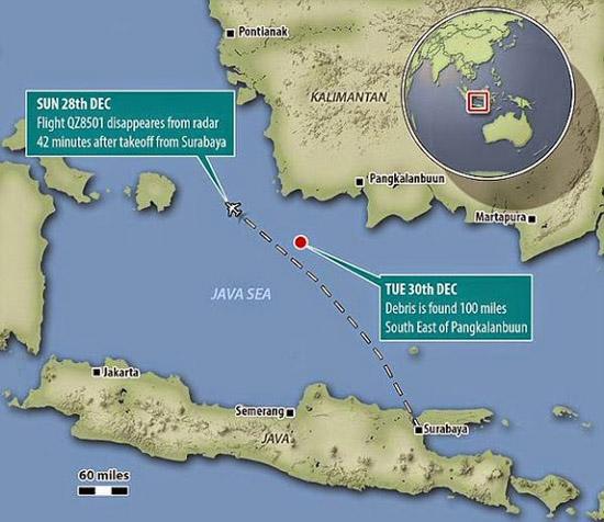 QZ8501 hilang dijumpai terhempas
