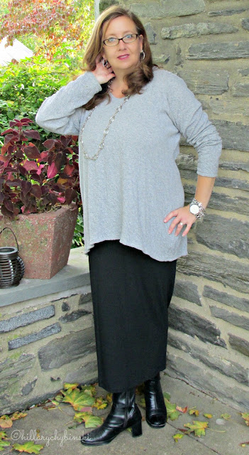 Maxi Skirt and Tunic Styled with Booties and Silver Jewelry