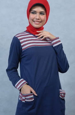 Actual Basic Busana Muslim Biru Model Kedua