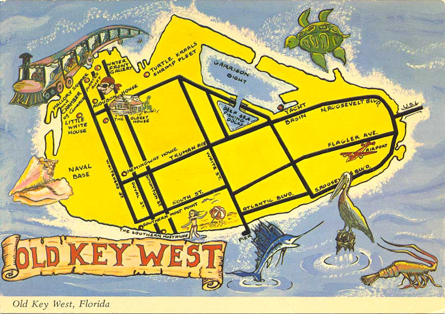 Key West Florida Map.Postcardy The Postcard Explorer Map Old Key West Florida
