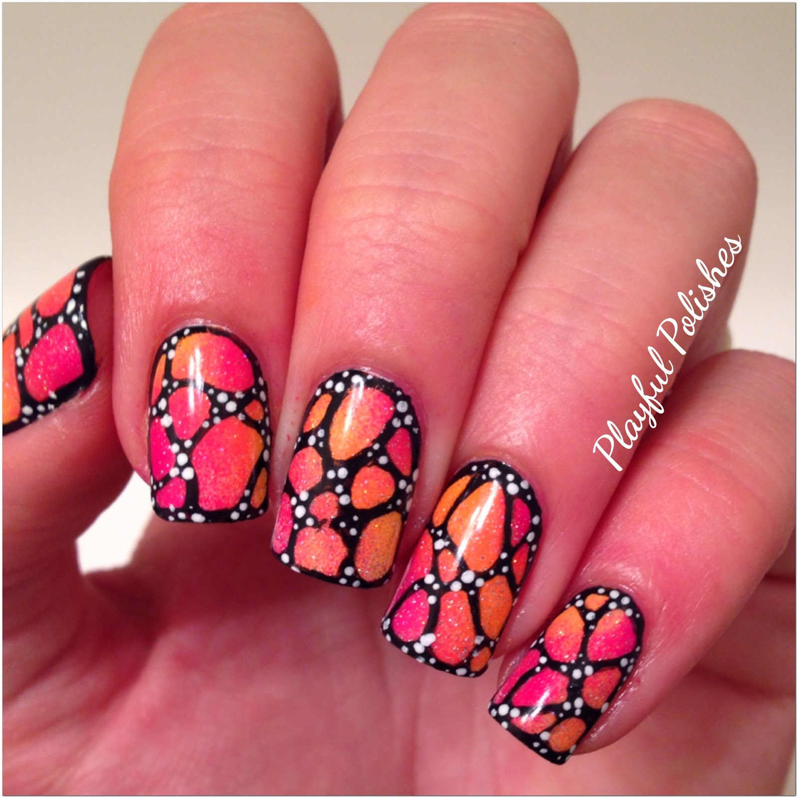Playful Polishes: BUTTERFLY NAIL ART