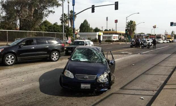 fresno car crash hit run shaw avenue highway 99 overpass