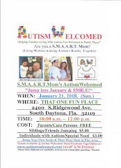 Autism Welcomed Decal (Jan. 21 ) Jump into January & SMILE @ That One Fun Place in S. Daytona,FL!