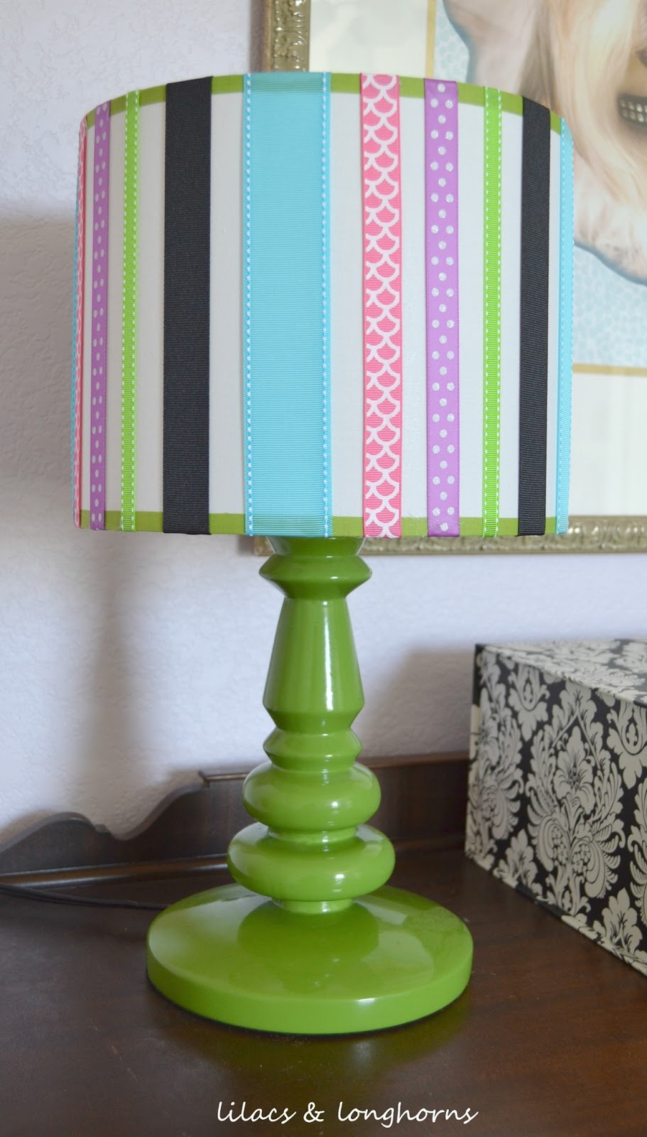 Diy ribbon lamp shade lilacs and longhornslilacs and longhorns the perfect accessory to her fun updated room aloadofball