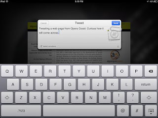 Screen shot of tweeting a page from Opera Coast.