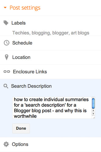 how to add a blog description on blogger