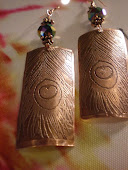 Etched Copper Peacock Feather Earrings