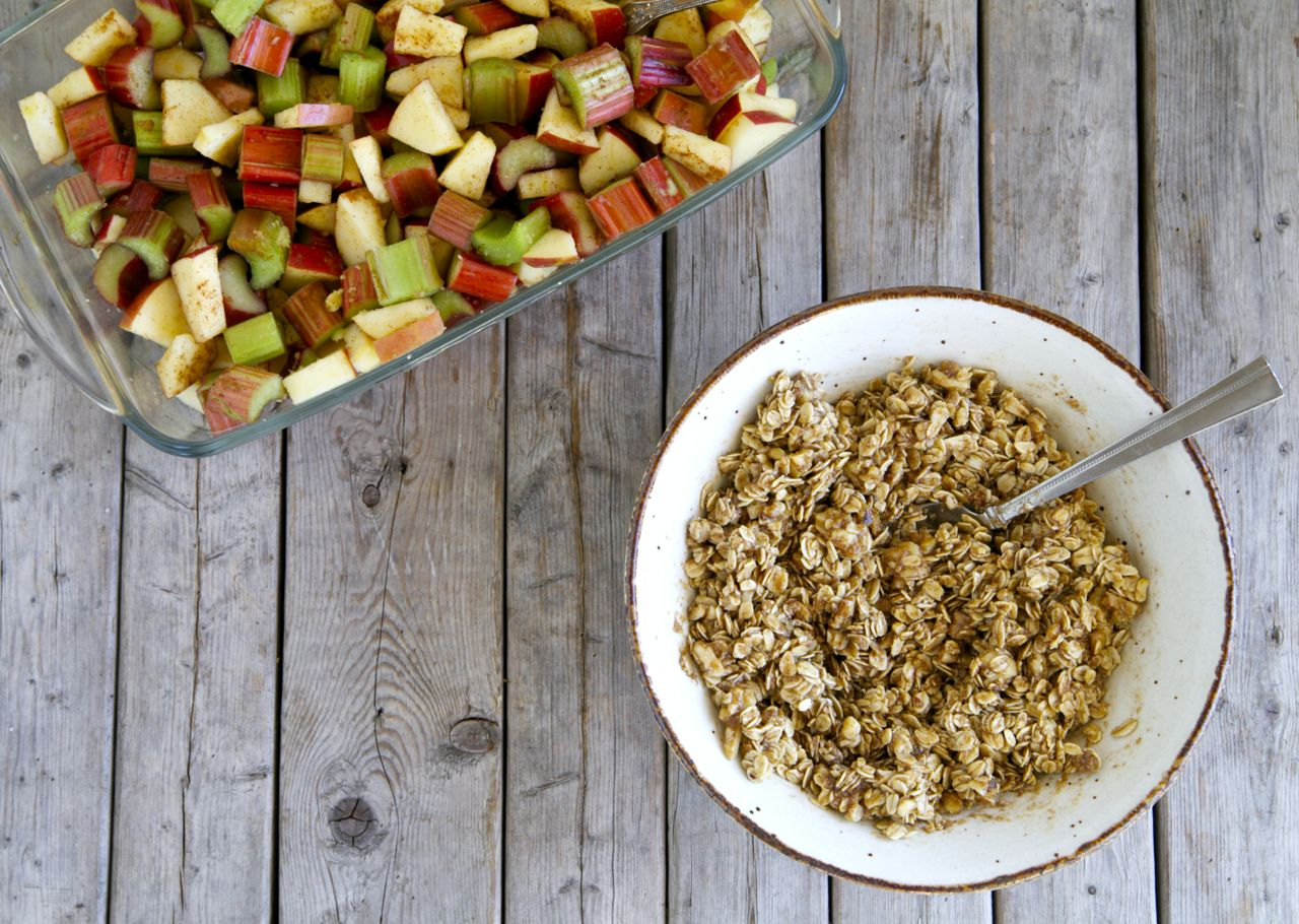 Rhubarb, Apple & Ginger Crumble