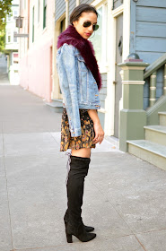 Fall fashion, fall style, OTK boots, over the knee boots, 90's style influence, Fall in NYC, fall style in New York, denim, burgundy for fall, fall lipstick shades, burgundy lipstick