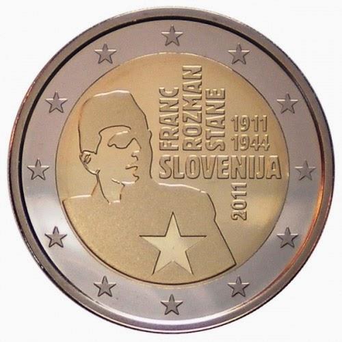2 Euro Commemorative Coins Slovenia 2011 Franc Rozman Stane Slovene Partisans