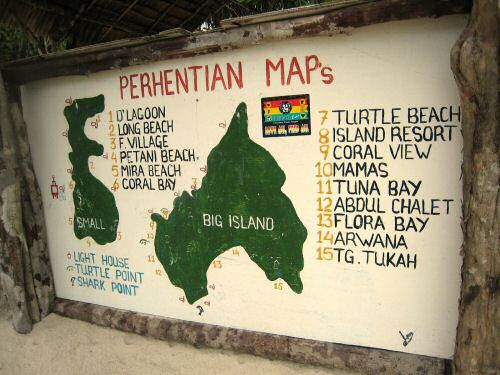 Perhentian Island Map on Perhentian Beach
