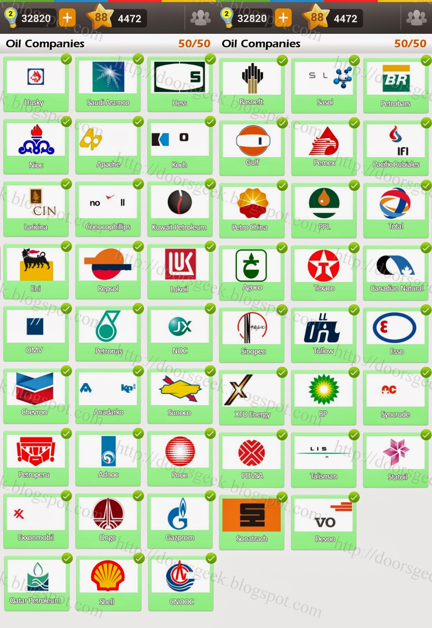 Préférence Logo Game: Guess the Brand [Bonus] Oil Companies ~ Doors Geek OT15