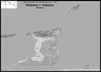 TRINIDAD Y TOBAGO, Mapa de Relieve de TRINIDAD Y TOBAGO, blanco y negro ,Google Maps