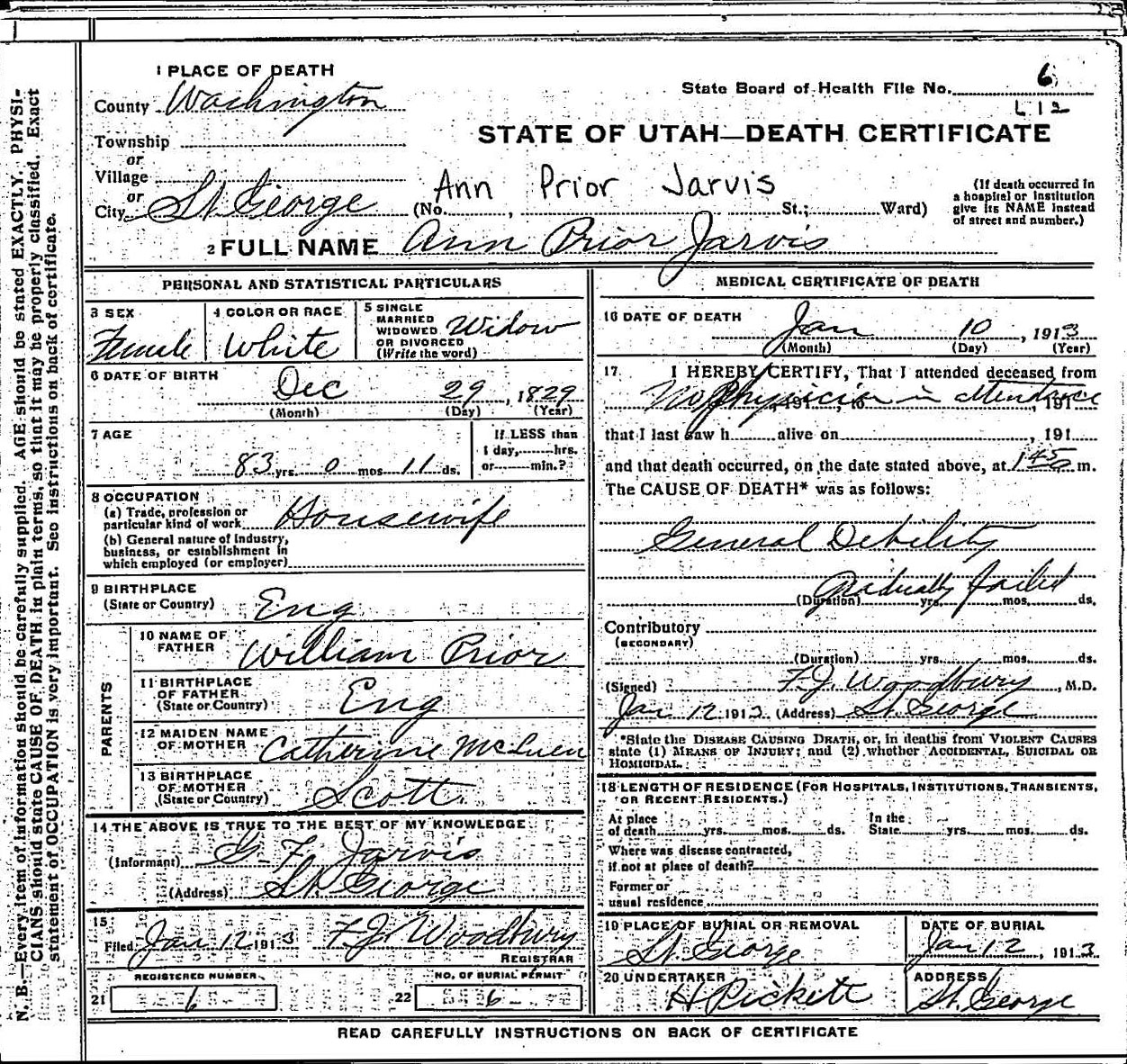 Theancestorfiles george and ann prior jarvis death certificates george and ann prior jarvis death certificates xflitez Choice Image