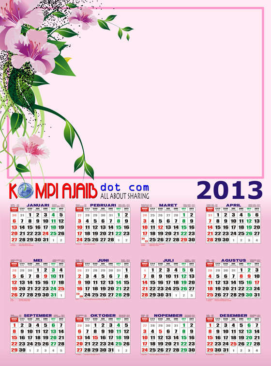Template Kalender 2013 Indonesia Lengkap