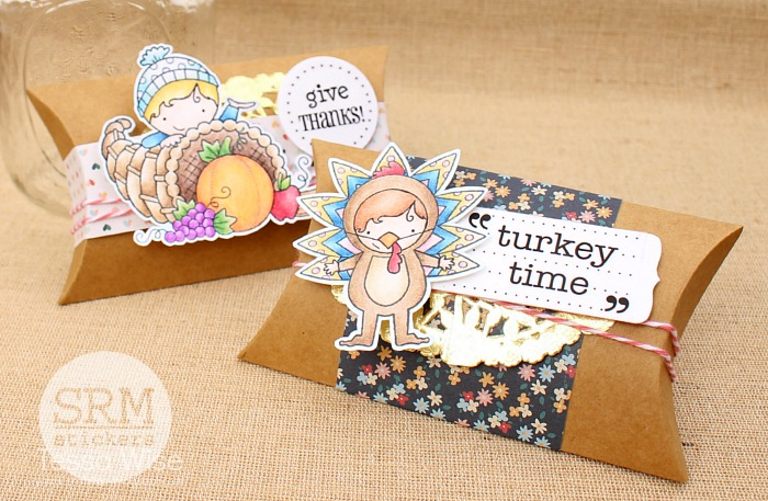 SRM Stickers - Thanksgiving Table Treats by Tessa - #srmstickers #thanksgiving #pillow box #kraft #twine #stickers #doilies