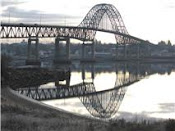 Mirrored image of the Centennial Bridge