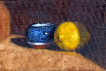 Oil painting of a blue and white glazed terracotta pot beside a lemon.