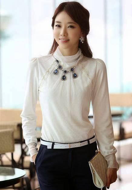 Multinotas: Blusas Elegantes Blancas, Manga Larga