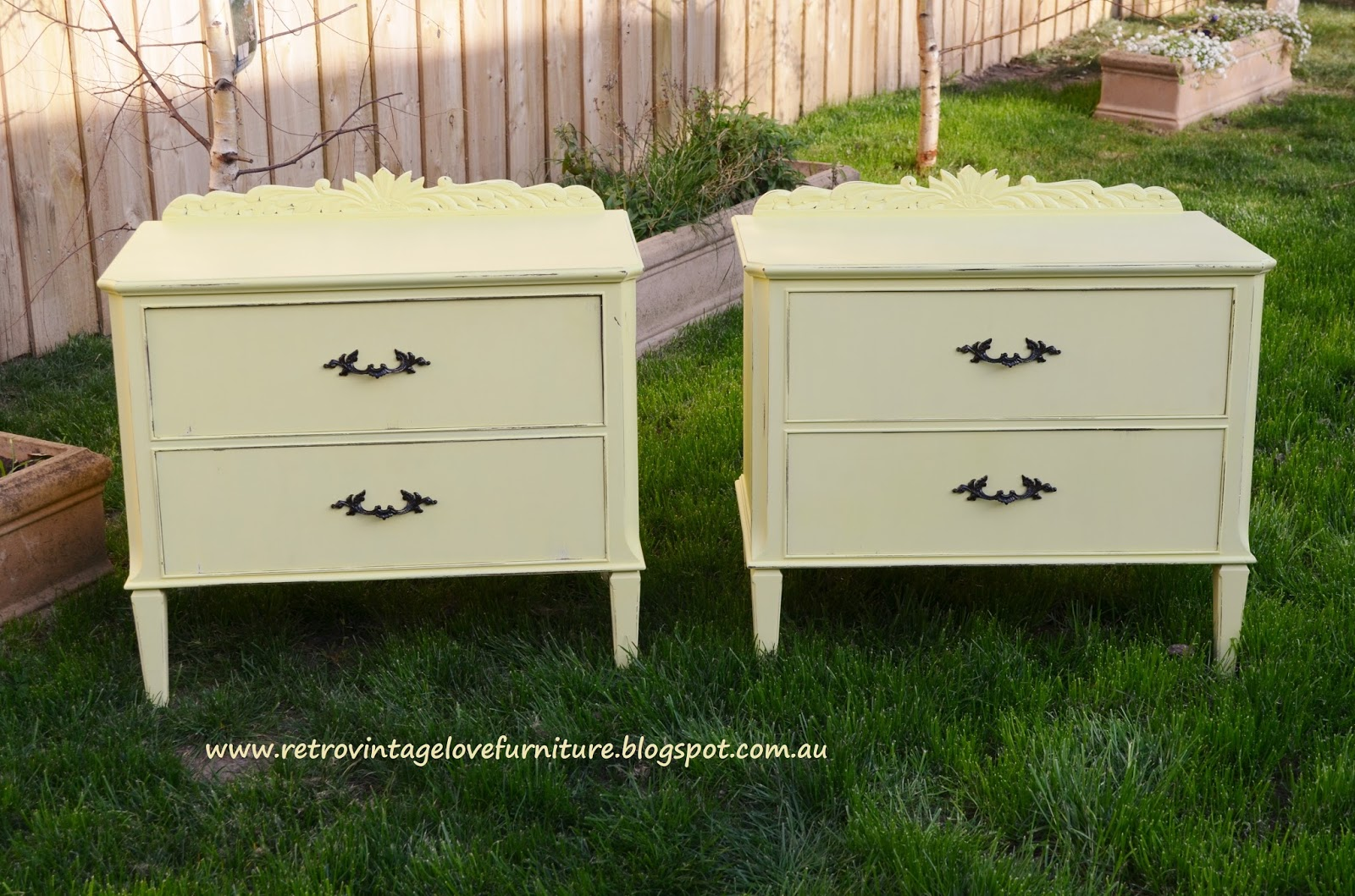 Vintage bedside table ideas - Vintage Yellow Distressed Painted Bedside Tables
