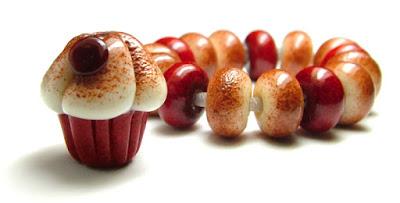 Lampwork Glass Cupcake Bead Set