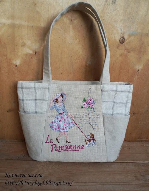 """женская текстильная летняя сумка с вышивкой крестом """"Один день в Париже"""" от """"Парижских вышивальщиц"""""""