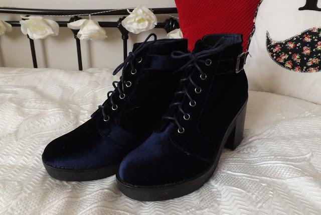 Blue Velvet Boots