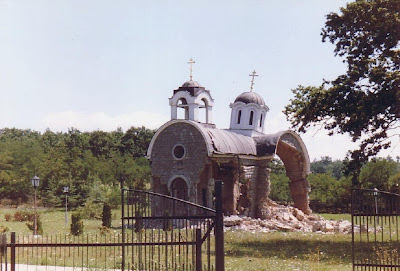 Desecrated church in Kosovo, Serbia