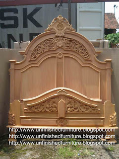 Raw unfinished furniture solid wooden mahogany bed