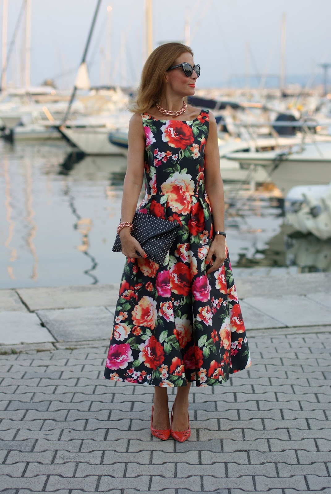 Buon Ferragosto with a chicwish floral prom dress on Fashion and Cookies fashion blog