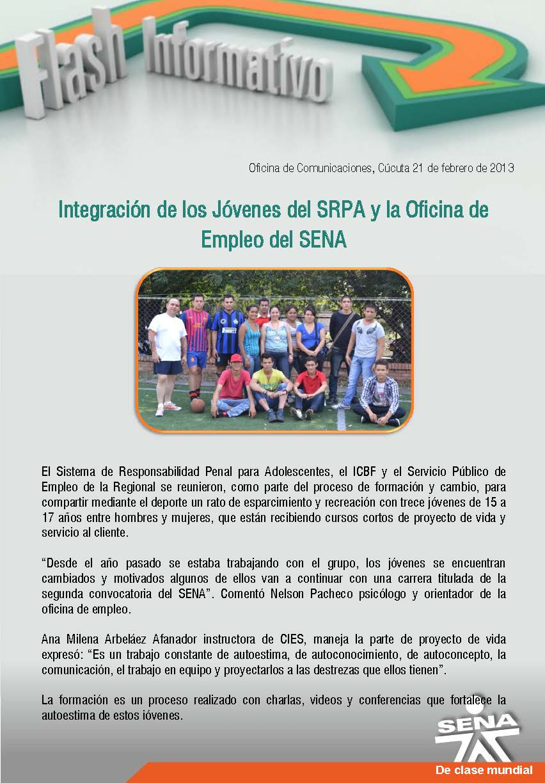 Regional norte de santander integraci n de los j venes for Oficina empleo santander