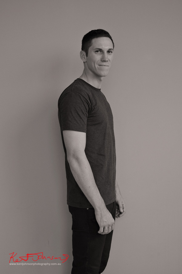 Black and White 'agency digitals' side-on - studio modelling portfolio by Kent Johnson.