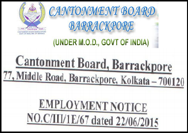 Barrackpore Cantonment Board Latest Job Advertisement July 2015