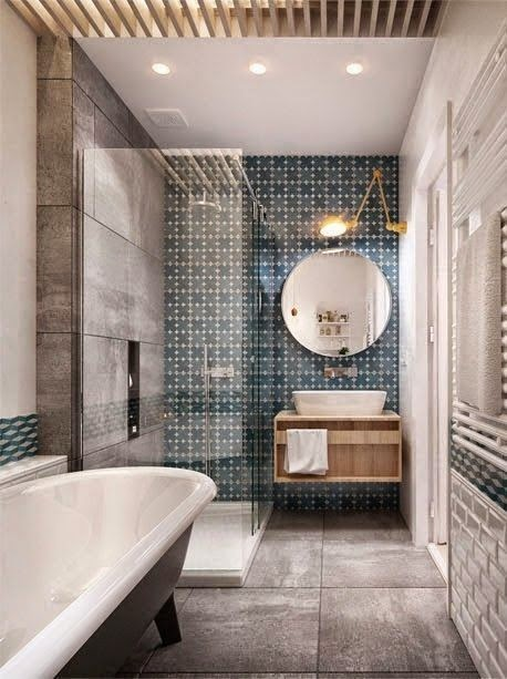 blue gray tile stand alone tub master bathroom