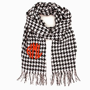 Houndstooth Monogram Cashmere Feel Fringe Scarf from emilyrosejewellery