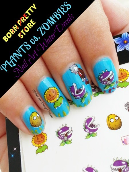 Born Pretty Store Plants Vs Zombies Nail Art Water Decals Review & NOTD - Makeup And Beauty Treasure: Born Pretty Store Plants Vs Zombies Nail