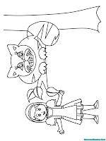 Mewarnai gambar Alice bersama seekor kucing
