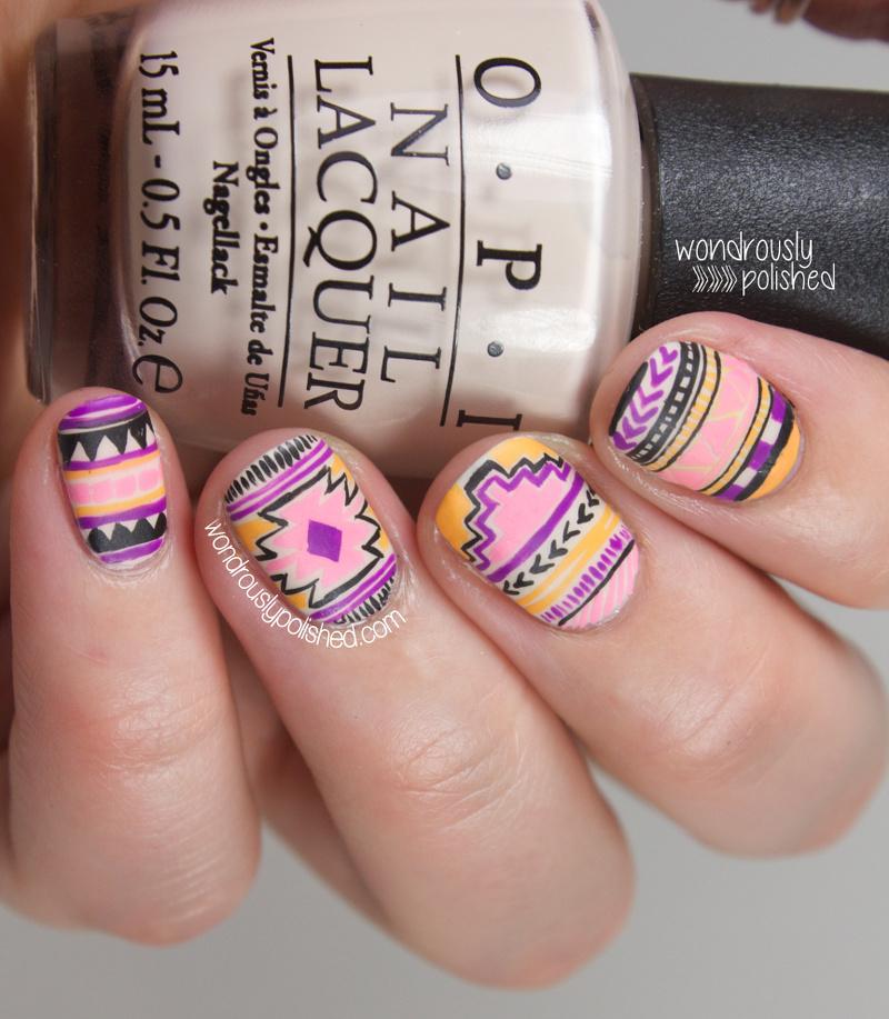 Wondrously polished nagg day 6 neon tribal nail art wednesday april 30 2014 prinsesfo Gallery