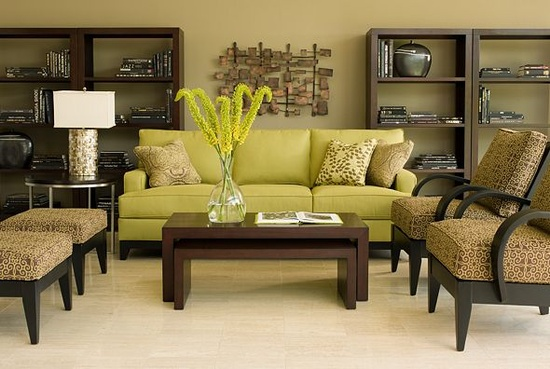 Eye for design decorating with the brown lime green for Green and brown living room