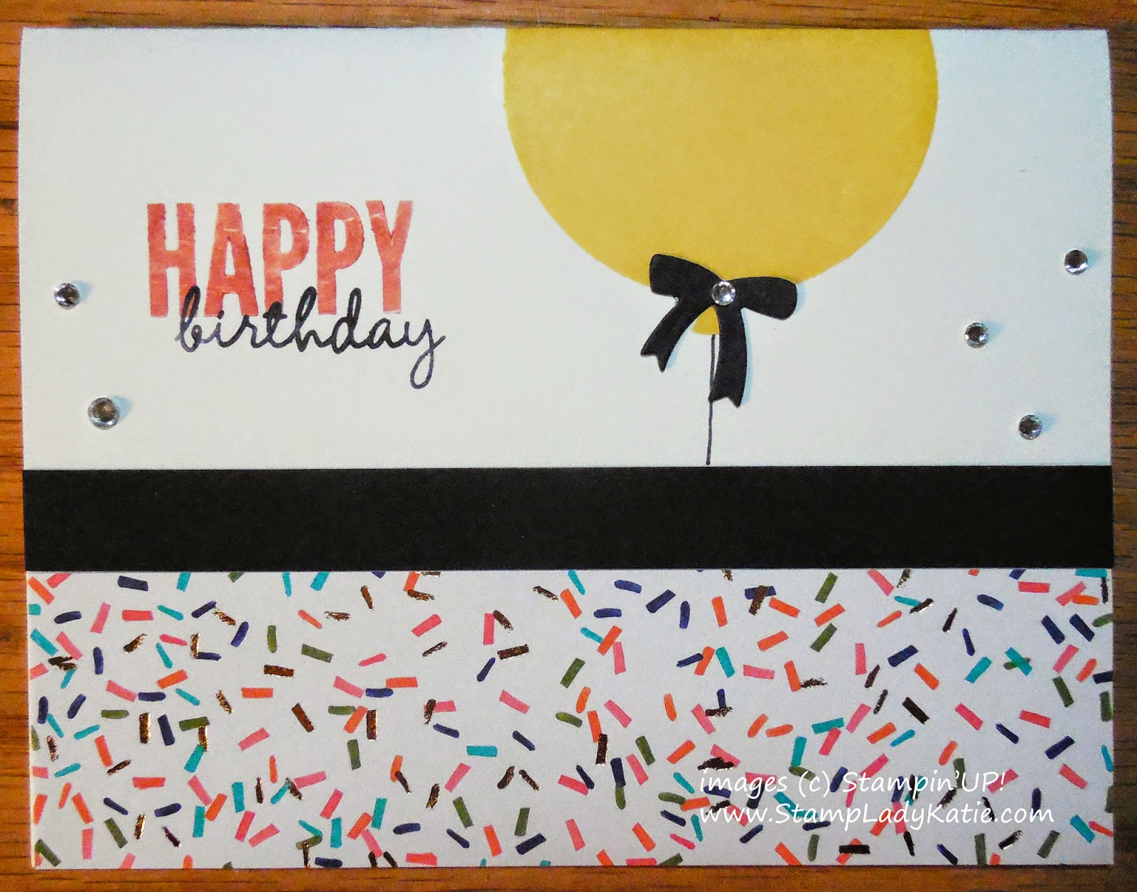 Card made with Stampin'UP!'s Celebrate Today stamp set and a bow die cut with the Balloon Framelit