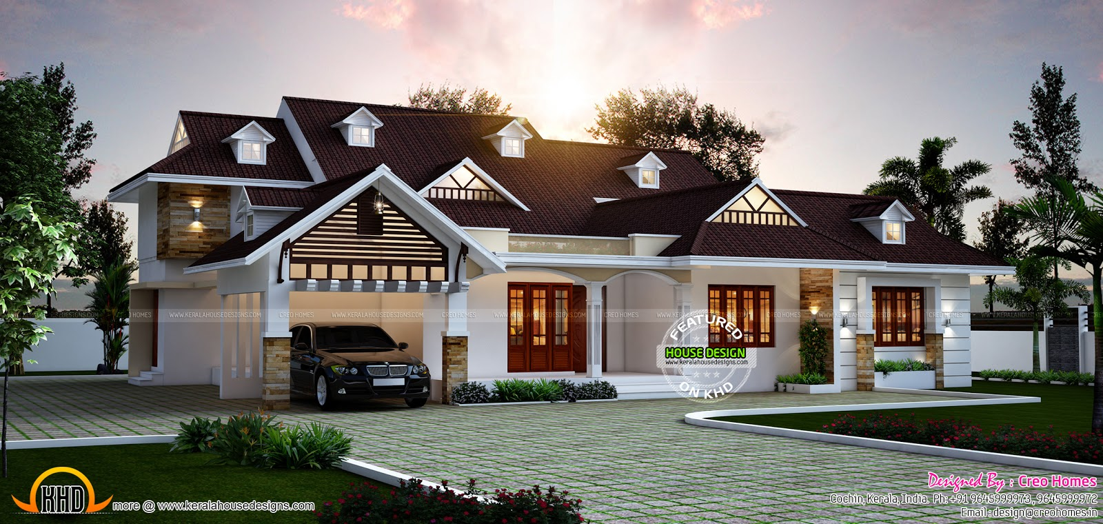Elegant one floor dormer window home kerala home design for Elegant house plans photos
