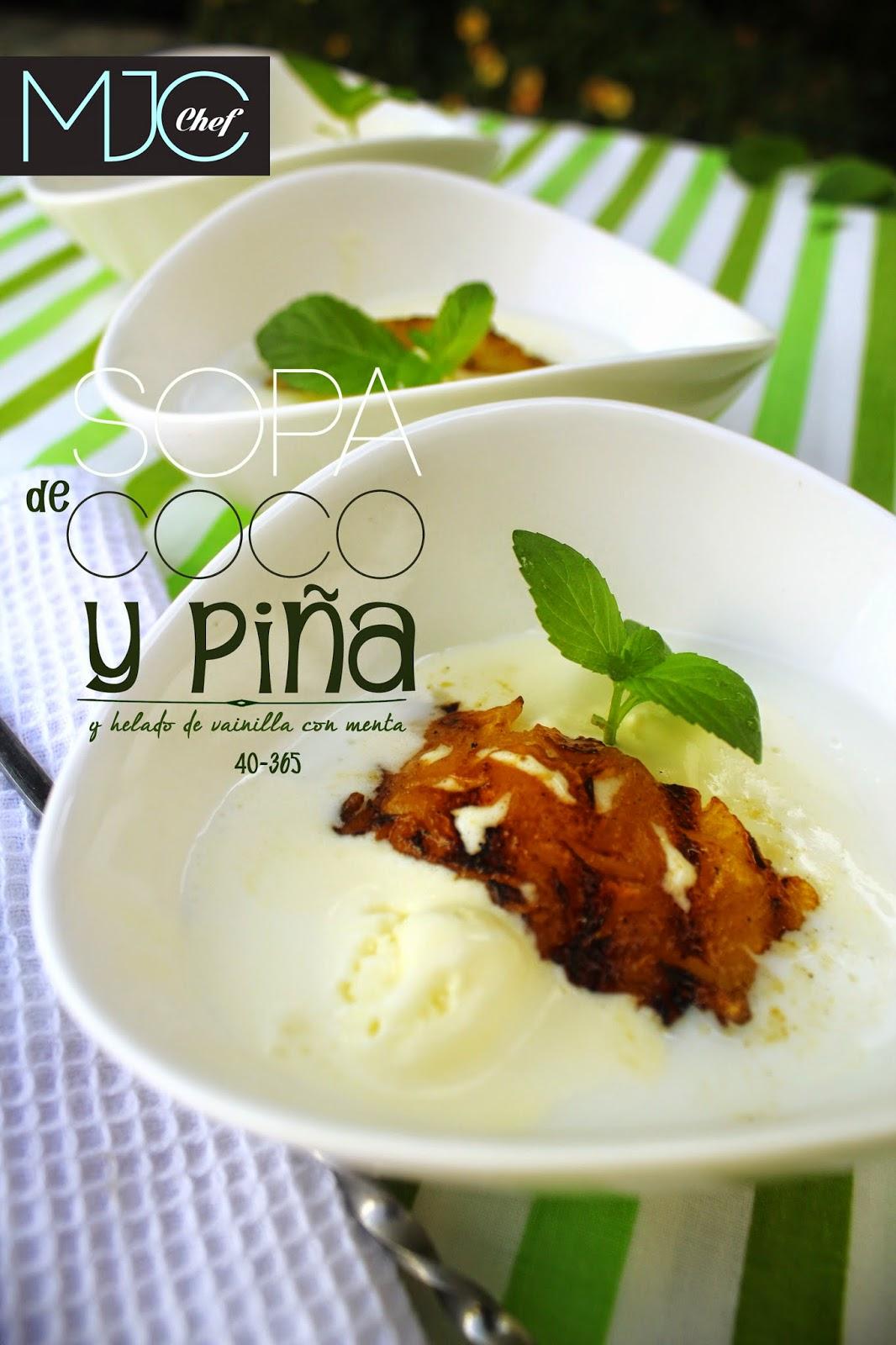 Sopa de coco y piña