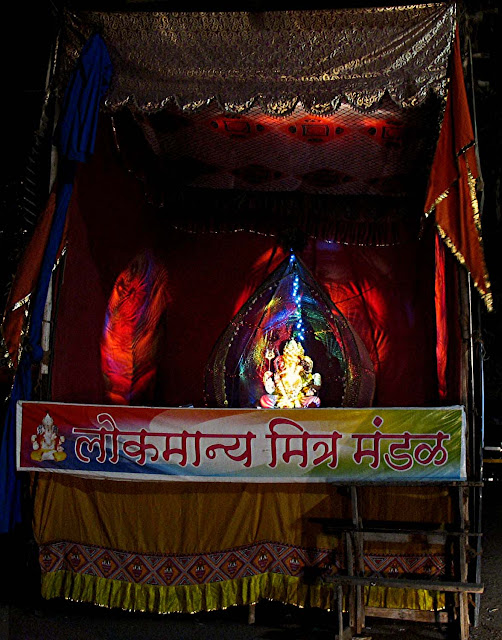 ganesh pandal lighted up at night